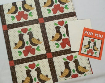 Vintage Current Gift Wrap Sheet & Card Set LOVEBIRDS