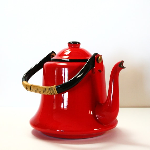 Fire Engine Red Vintage Teapot Made in Japan