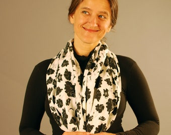 Floral Printed Scarf - Infinity Scarf - Circle Scarf - Organic Cotton - Black and White Floral - Organic Clothing