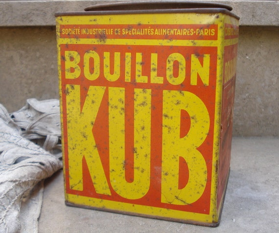 Oold big french KUB tin kitchen metal container canister