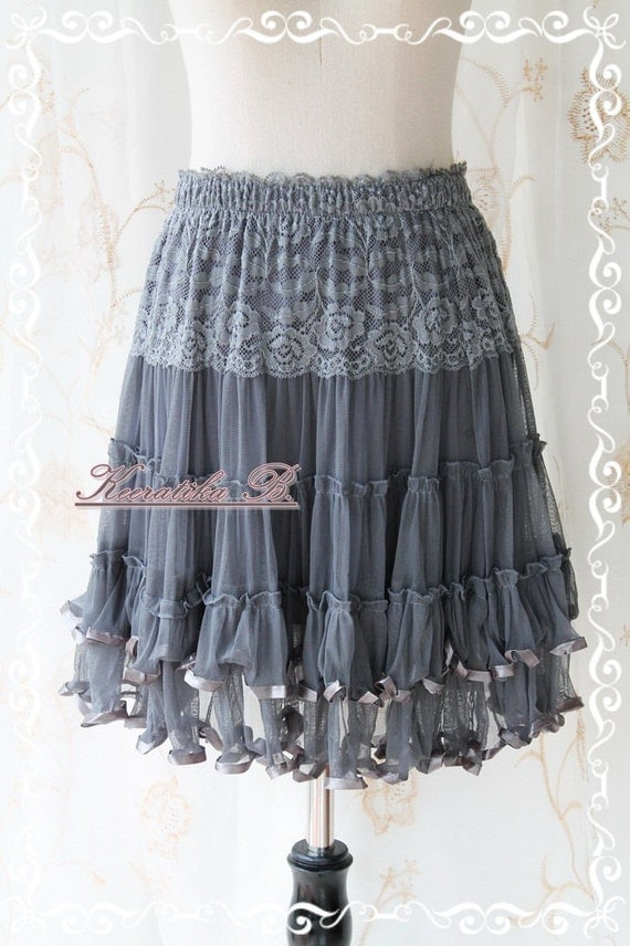 Fairy Tales Of Mine - Swing Ballet Skirt Charcoal Gray  Tutu Lacy Romance Adorable Sweet Lady Skirt
