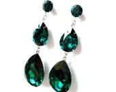 Extra Large Emerald Green Teardrop Swarovski Crystal Dramatic Chandelier Post Earrings
