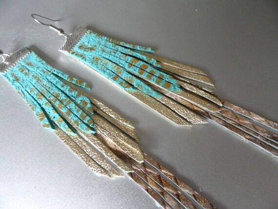 Long Turquoise Gold Snake Leather Fringe Earrings