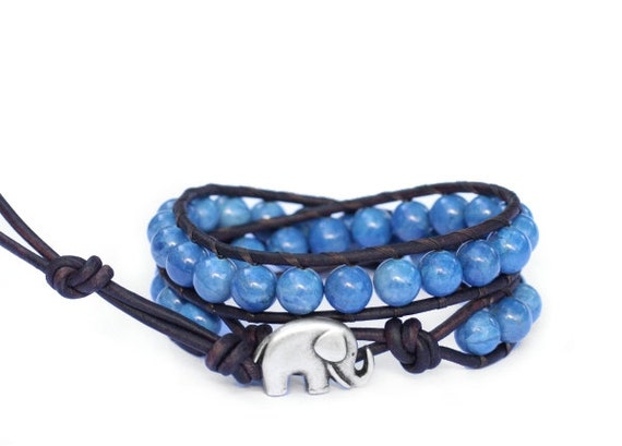 the lucky elephant leather wrap bracelet - Denim Jasper with GOOD LUCK ELEPHANT