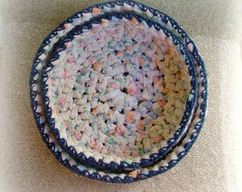 Upcycled crocheted nesting bowls -set of two baskets - recycled cotton yarn with blue trim