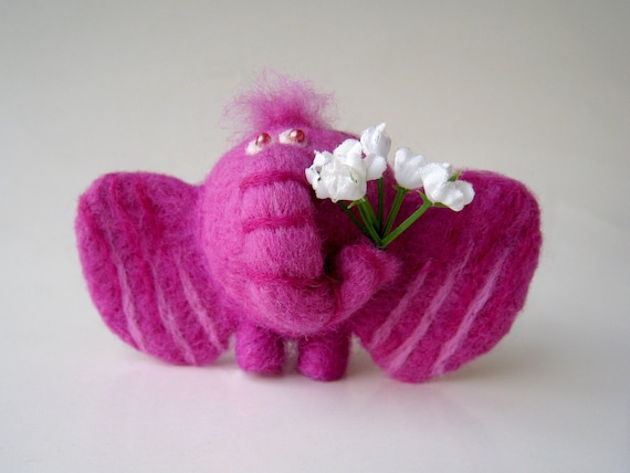 Lilac forelock festive elephant - needlefelted sculpture