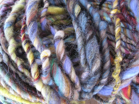 Handspun art yarn LACED WITH LICORICE 76 yards free shipping