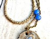 Dragonfly. Blue, light blue, stone necklace. Ceramic & gemstone. OOAK. Japanese Glass Peanut Beads. Grey and blue necklace. Brass.