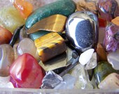 Mixed Lot of Tumbled Semi Precious Stones, Variety, No Holes, 25 Stones