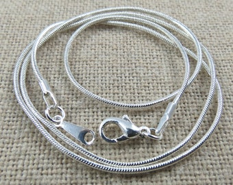 Silver Plated Snake Chain Necklaces 24 inch Chain with Lobster Clasp, Size is 1.2 mm Thick