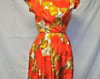 Mid Century Orange Floral Mad Men Silk Dress