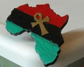 Africa Shaped Garvey Ring with Ankh