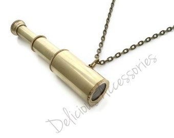 Miniature Solid BRASS Working Retractable Telescope Pendant Necklace