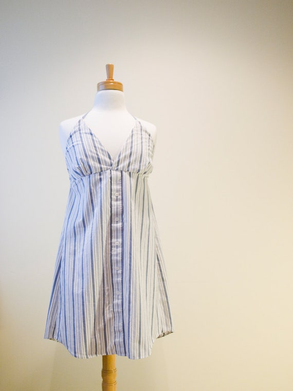 Clearance - Medium upcycled halter summer dress - blue striped,  made from men's dress shirt