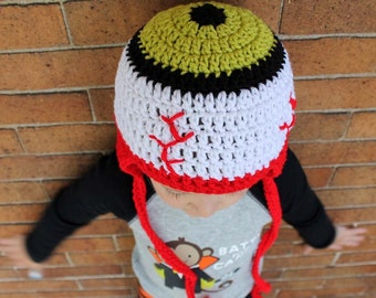 Eye Eyeball Horror Halloween Earflap Hat Beanie for Kids or adult   - You choose the color Accessories by Julian Bean