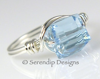March Birthstone Ring, Argentium Sterling Silver Aquamarine Crystal Cube Ring, Custom Size Statement Ring