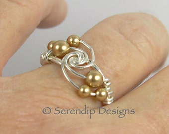 Silver Pearl Twist Ring, Argentium Sterling Silver Ring with Gold Pearl Clusters, Custom Silver Pearl Twist Ring, Multi Gold Pearl Ring
