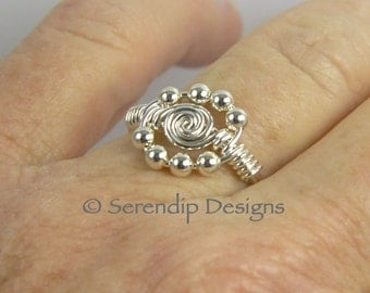 Argentium Sterling Silver Spiral Circle Ring with Eight Sterling Silver Beads, Silver Circle Ring