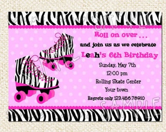 Roller Skate Birthday Invitations