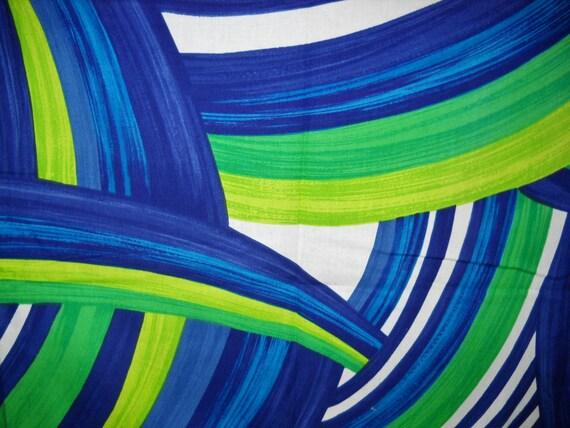 Vintage Hawaiian Ocean Blues Swirls Cotton Fabric