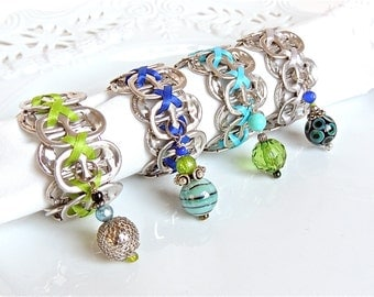 Eco-Friendly NAPKIN RINGS - Aqua, Cobalt, Lime - set of 4 - upcycled/recycled gifts - gifts under 20 dollars