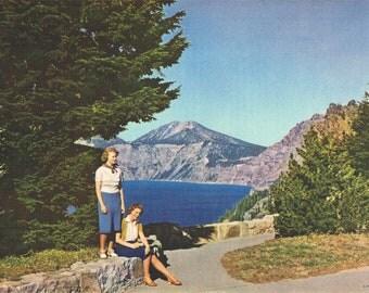 Vacationing at Crater Lake Hand Tinted Photo Print
