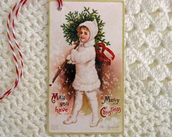 Christmas Tags Vintage Inspired Snow Girl Set of 6