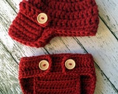 The Oliver Newsboy Cap in Cranberry with Matching Diaper Cover- 0-3 Month Size READY TO SHIP