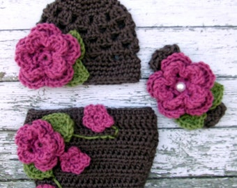 The Sofia Flower Beanie in Taupe, Pink Rose and Green with Matching Diaper Cover Set Available in Newborn to 24 Months Size- MADE TO ORDER