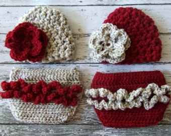 Twin Photography Prop Set in Crandberry and Oatmeal Available in Newborn to 12 Months- MADE TO ORDER