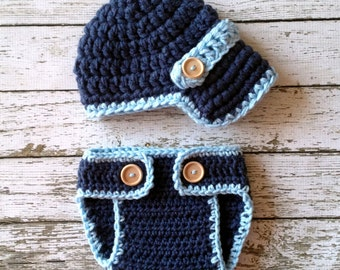 The Oliver Newsboy Cap in Denim Blue and Baby Blue with Matching Diaper Cover Available in Newborn to 24 Months Size- MADE TO ORDER