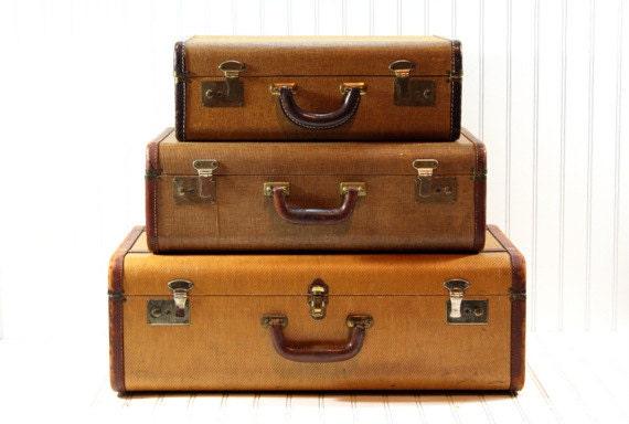 Vintage Stack of Suitcases / Vintage Suitcase /Vintage Luggage
