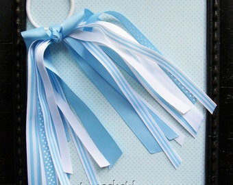 Light Blue and White Polka Dot / Stripes Cheer Leader Ponytail O streamer