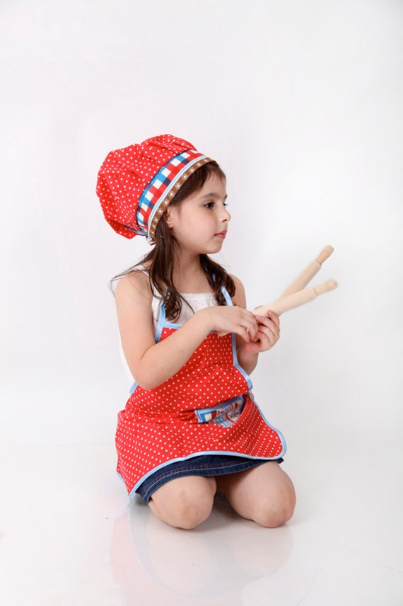 KIDS  CHEF SET red polka dots chef set :  apron,  hat , cookie cutters, rolling pin and a recipe