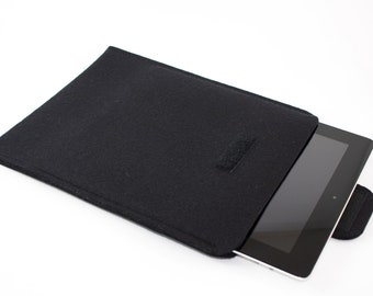 iPad, Playbook or Xoom Sleeve - 100% Merino wool - Black - Portrait