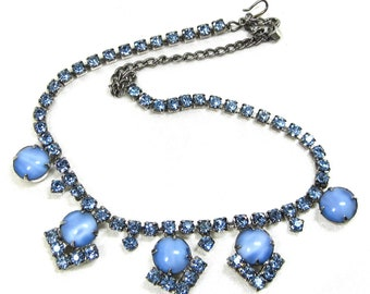 Vintage Blue Art Glass Moonstone Necklace with Blue Sapphire Rhinestone's