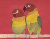 Pressed Flower Art Print Lovebirds
