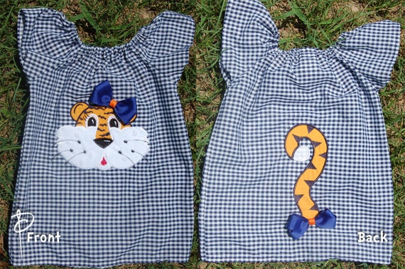 Auburn Tigers Peasant Dress with Tail & Bows 3 6 9 12 18 month size 2t 3t 4t 5 6 7/8