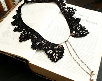 lace collar necklace -JUSTINE- black