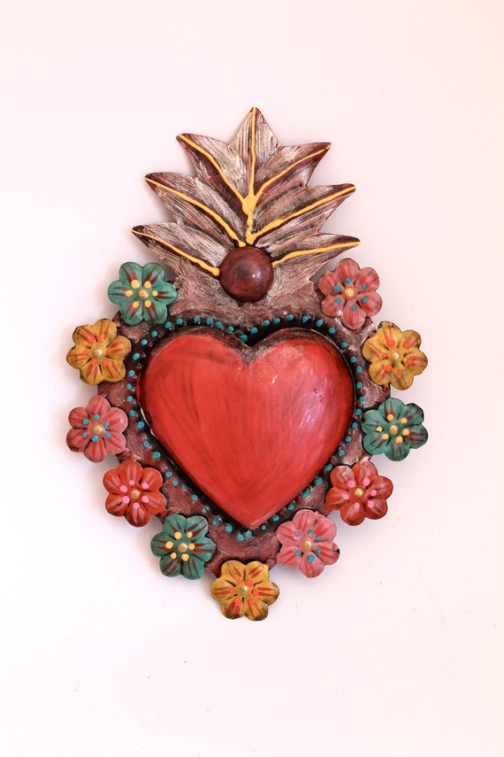 Tin sacred heart Mexican wall art multicolored flowers flora // unique sweet special// rainbow red