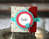 Smile - Lunchbox note - stars background with aqua ribbon