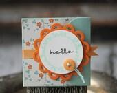 Hello - Lunchbox note - flowers in orange and aqua