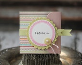 I Adore You - Lunchbox note - stripes with green ribbon