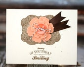 Thinking of you today and smiling - handmade card with felt flower