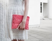 Coral Red Splatter Leather-Suede Pouch No. SZP-101