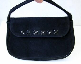 SALE Antique Art Deco Black Suede Distressed Leather Eavning Bag Handbag Purse 1940s