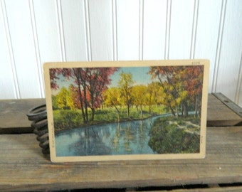 Vintage Autumn Fall Postcard Harvest Woodland from FleaMarketGal