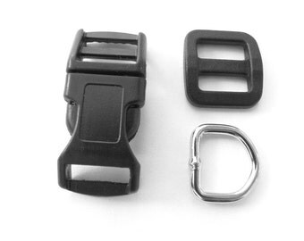 "5 Sets - 1/2"" (13mm) Dog Collar Hardware Kits - (15 pieces) - Buckles, D-Rings, Wide-Mouth Triglides"