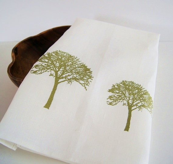 Organic Linen Tea Towel / Hand Printed Tree of Life/ Cottage Life/ Made To Order/ Great Gift Idea