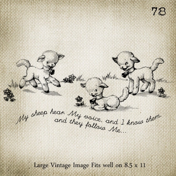 My Sheep Hear My Voice LARGE Digital Vintage Image Download Sheet Transfer To Totes Pillows Tea Towels T-Shirts